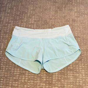 Lululemon mint-blue speed up shorts